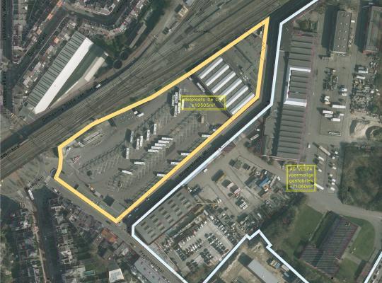 Luchtbeeld Nieuw Zurenborg, een nog te ontwikkelen gebied in het Antwerpse Zurenborg